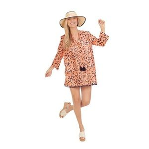 Mudpie Lacey Pom-Pom Cover Up in Peach Leopard - S